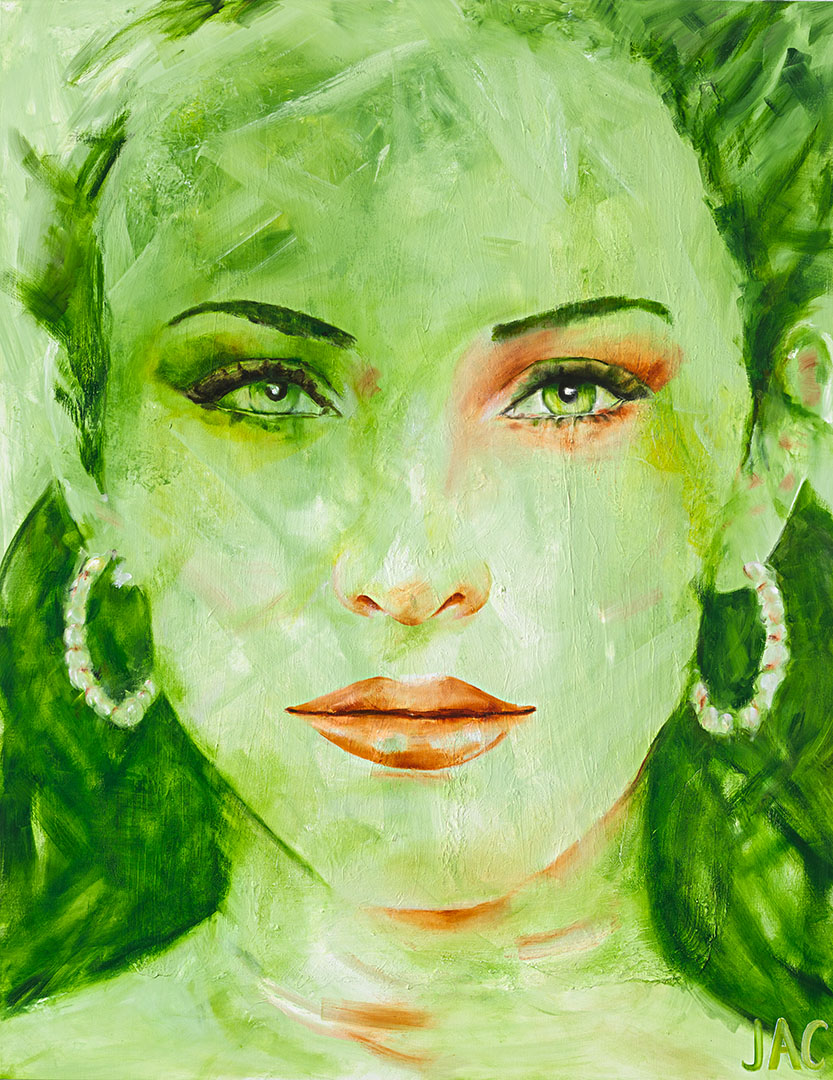 Shades of green vrouwenportret schilderij door Jacqueline de Vries JAC JACPaintings JAC Art Collection